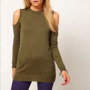 ASOS Cold Shoulder Sweater Army / Olive Green S /2
